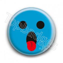 Badge : Smiley langue bleu