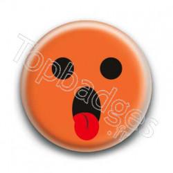 Badge : Smiley langue orange