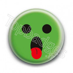 Badge Smiley Tirant La Langue Vert