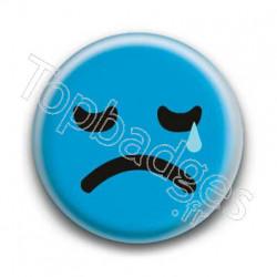 Badge Smiley Triste Bleu