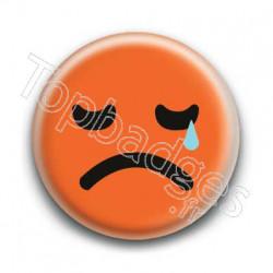 Badge Smiley Triste Orange