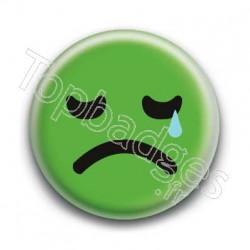 Badge Smiley Triste Vert