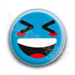 Badge Smiley Mort De Rire Bleu