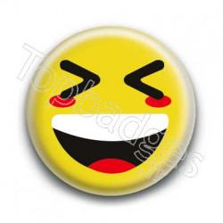 Badge Smiley Mort De Rire Jaune