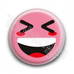 Badge Smiley Mort De Rire Rose