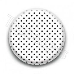 Badge Pois Noirs Sur Fond Blanc