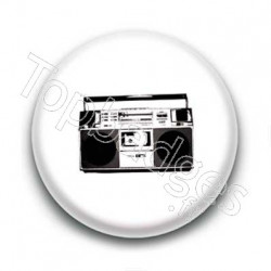 Badge Ghetto Blaster Noir Et Blanc Sur Fond Blanc
