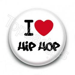 Badge I Love Hip Hop Graff Sur Fond Blanc