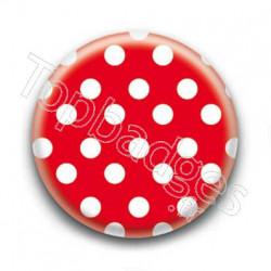 Badge Pois Blancs Sur Fond Rouge