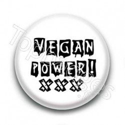 Badge Vegan Power Sur Fond Blanc