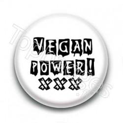 Badge Vegan Power Sur Fond Blanc